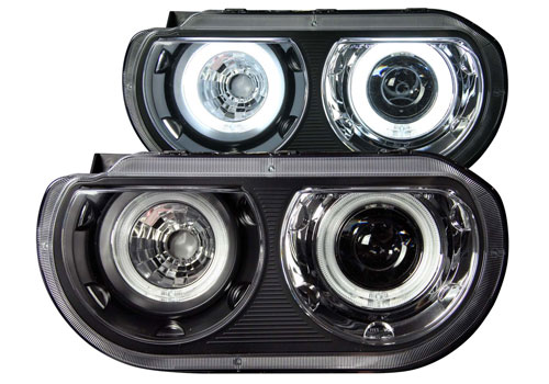 Clear Lens Black Projector Headlights 08-14 Dodge Challenger