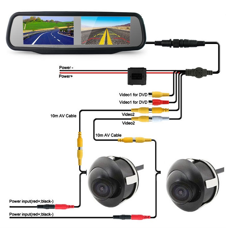 "Universal Dual Night Backup Camera System 4.3"" Mirror Monitor"