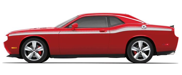 Mopar Matte Silver Side Beltline Graphics 08-up Dodge Challenger
