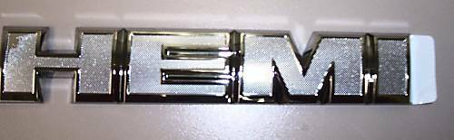 """Hemi"" Chrome OEM Straight Emblem Badge Dodge, Chrysler, Jeep"