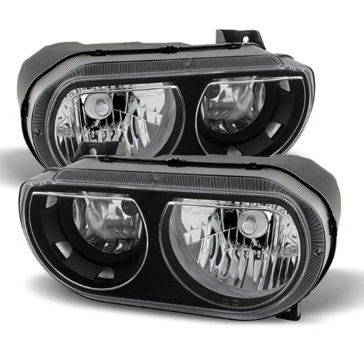 Clear Lens Black Headlights 08-14 Dodge Challenger