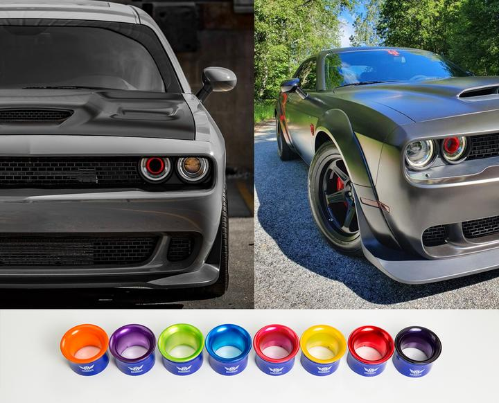 anodized intake headlight rings   dodge challenger merrick motorsports anodized intake