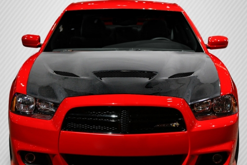 Carbon Fiber Hellcat Style Hood 11-14 Dodge Charger - Click Image to Close