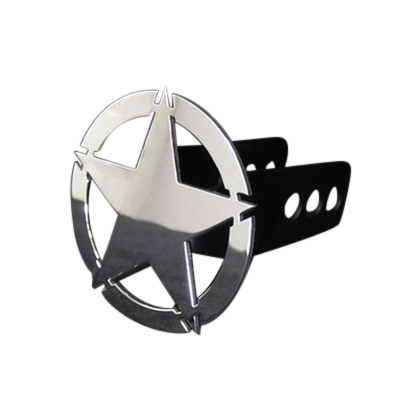 Chrome War Star Design Hitch Cover