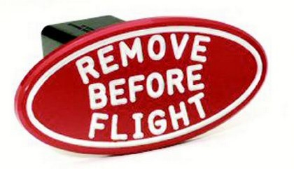 Red Remove Before Flight Oval Billet Hitch Cover