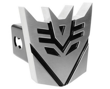 Brushed Finish Decepticon Hitch Plug with Black Hightlights