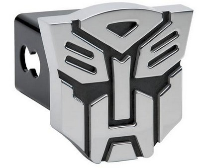 Brushed Finish Autobot Hitch Plug with Black Hightlights