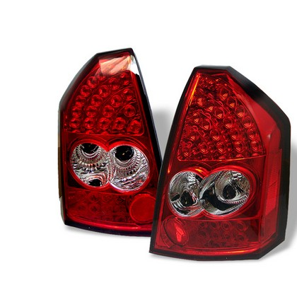 Spyder Red Clear LED Tail Light Set 05-07 Chrysler 300C