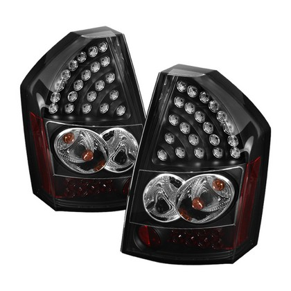 Spyder Black LED Tail Light Set 05-07 Chrysler 300C