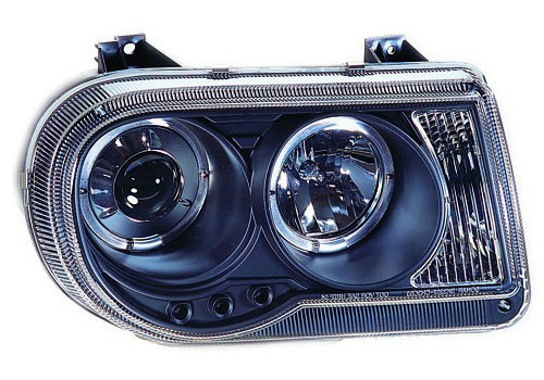 IPCW Projector Black Headlights With Rings 05-10 Chrysler 300C