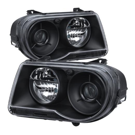 Clear Lens Black Headlights 05-10 Chrysler 300C