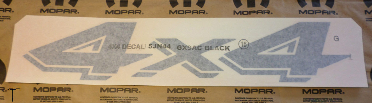 4x4 Black Bed Side Decals Dakota, Ram, Durango, Aspen, Jeep