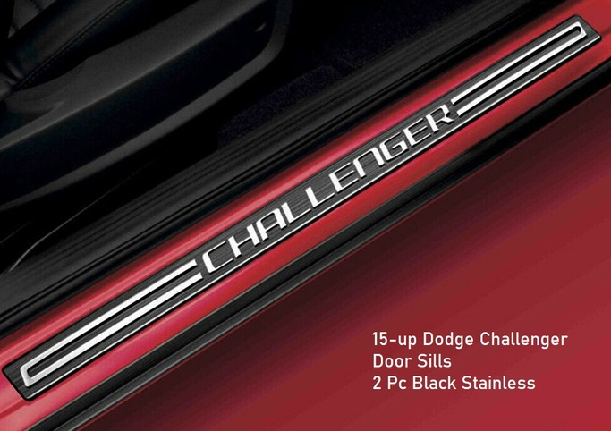 """Challenger"" Black Stainless Door Sill Guards 15-up Challenger"