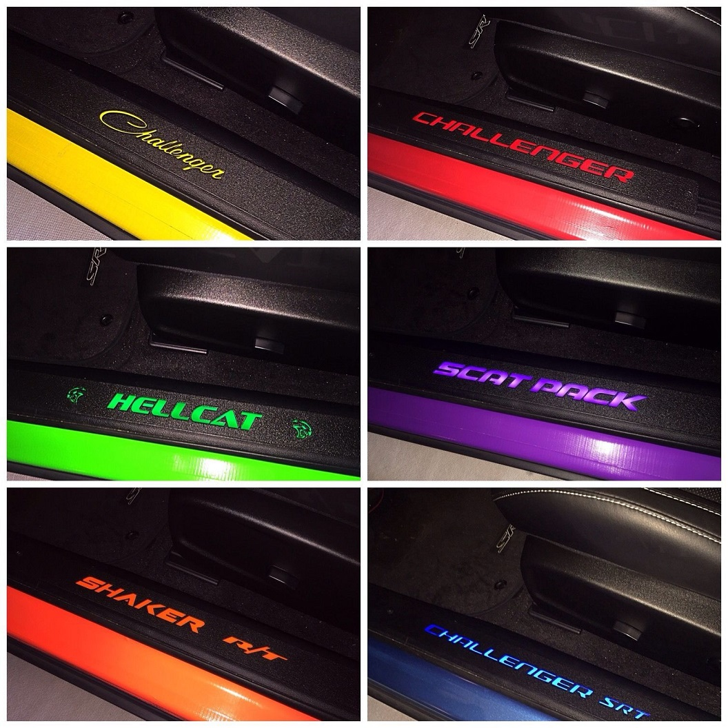 Illuminated Door Sill Inserts 2015-up Dodge Challenger