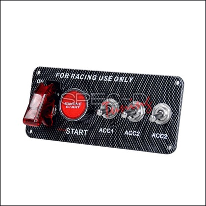Spec-D Tuning 12V Racing Car RED LED Ignition Switch Panel