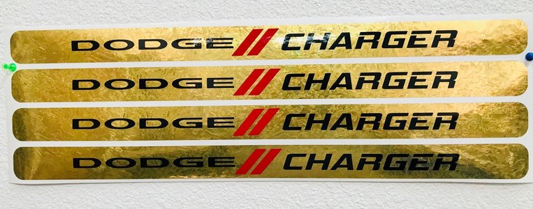 """Dodge & Stripes"" Turned Gold Door Sill Decals"