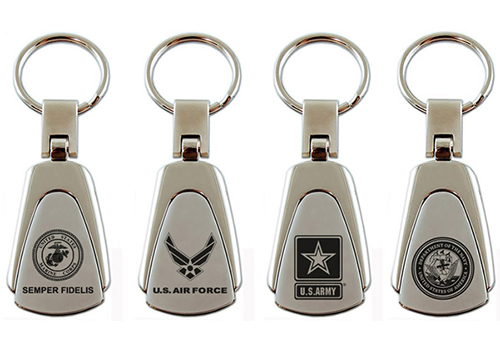 Au-Tomotive Gold US Marines Logo Chrome Key Chain