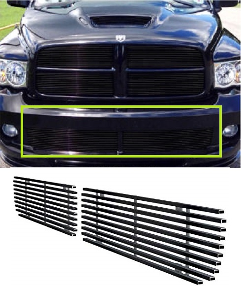 2 pc Black Billet Bumper Grill Set 04-05 Dodge Ram SRT10