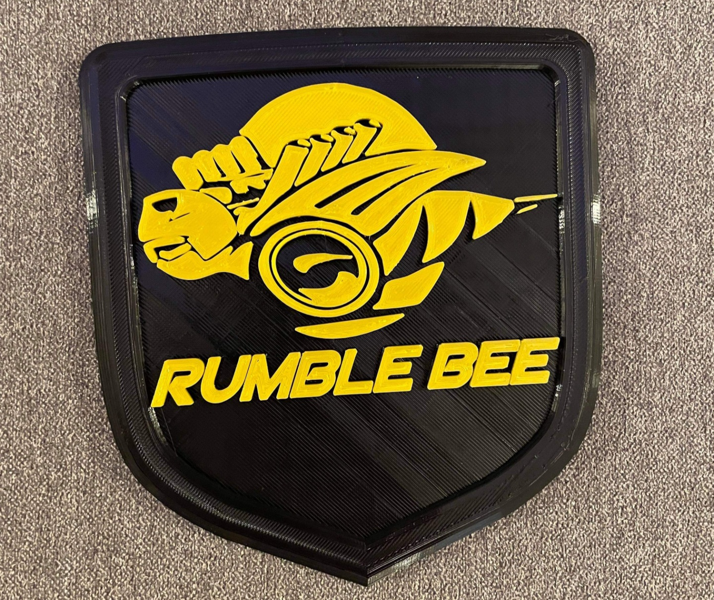 """Rumble Bee"" 3D Printed Tailgate Shield Emblem Dodge Ram"