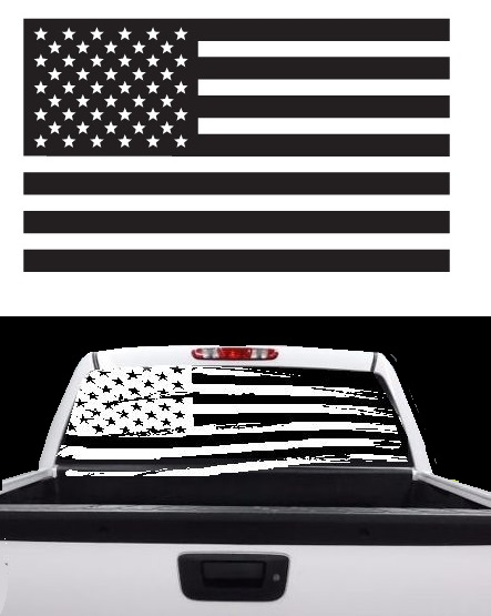 "American Flag Rear Window 60""x20"" Decal Dodge, Chrysler, Jeep"