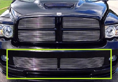 2 pc Polished Billet Bumper Grill Set 04-05 Dodge Ram SRT10