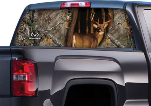 Xtra Camo Pattern with Whitetail Buck Rear Window Graphics