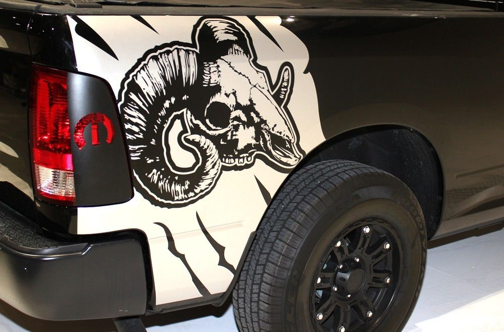 Custom Ram Skull Body Graphics Decal Kit Dodge Truck, Car