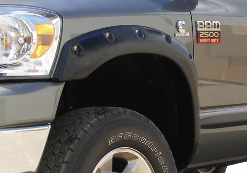 Black Ruff Riderz Fender Flares 02-09 Dodge Ram 6.5 ft. Bed