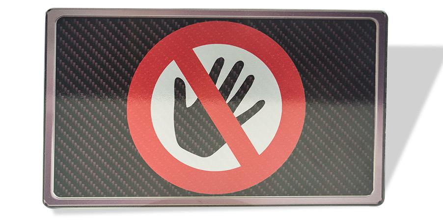 """Hands Off"" Stainless Car Show Plaque"