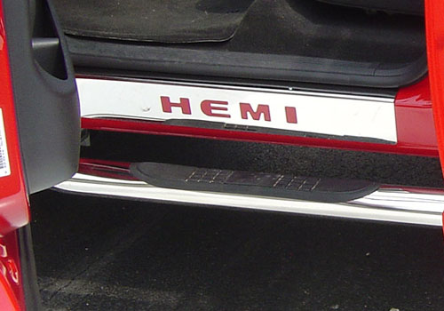 """HEMI"" Front Stainless Steel Door Sill Plates 02-18 Dodge Ram"