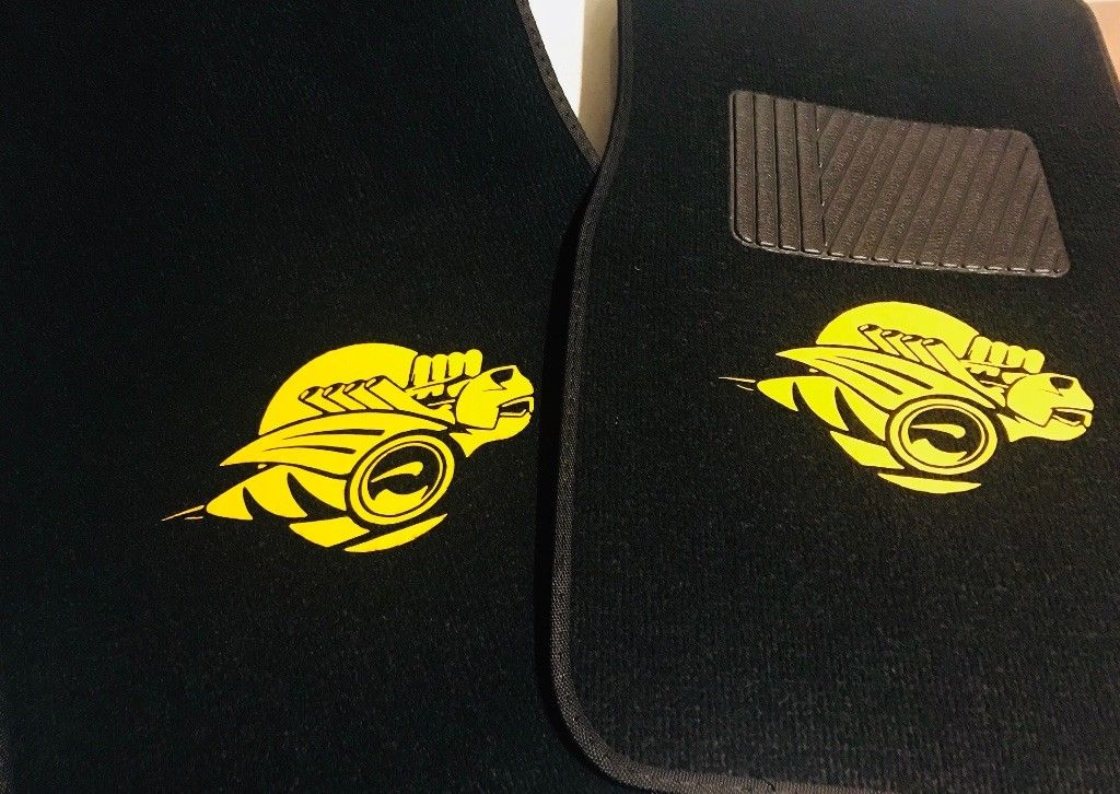 """Rumble Bee Logo"" 2 piece Black Floor Mats 04-05 Dodge Ram"