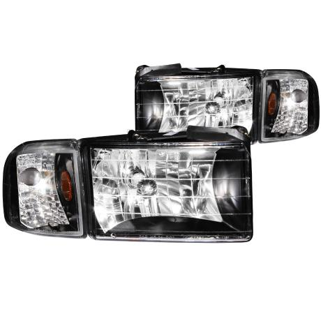 Anzo Crystal Black Headlights 94-01 DODGE RAM W/O SPORT PACKAGE