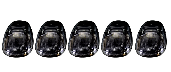 Recon 5-Pc Smoked Cab Roof Lights Amber LEDs 99-02 Dodge Ram