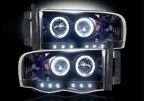 Recon Black Headlights with LED Halo & Daytime 02-05 Dodge Ram