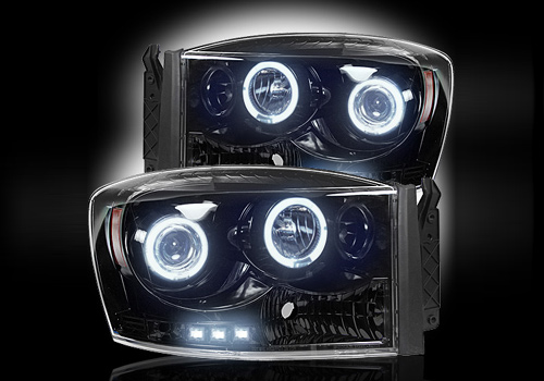Recon Black Headlights with LED Halo & Daytime 06-08 Dodge Ram