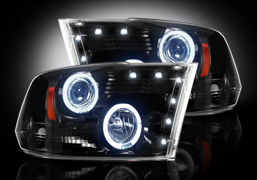 Black LED Halo Headlights 09-18 DODGE RAM w/o Factory Projectors