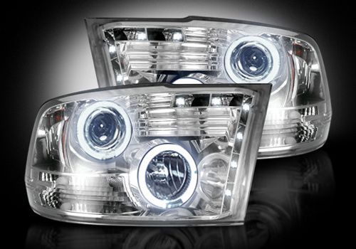 Chrome LED Halo Headlights 09-18 DODGE RAM w/oFactory Projectors