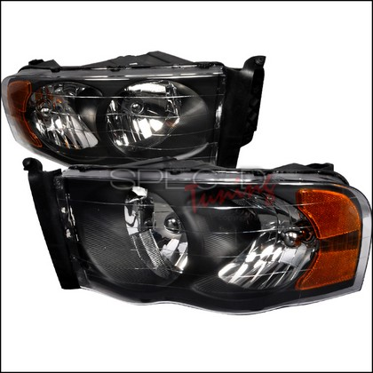 Spec-D Black Crystal Headlights 02-05 Dodge Ram