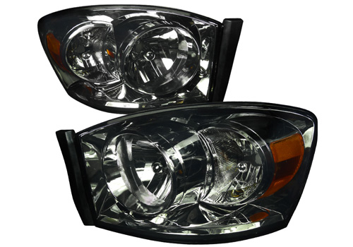 Spec-D Black Smoked Headlights 06-08 Dodge Ram