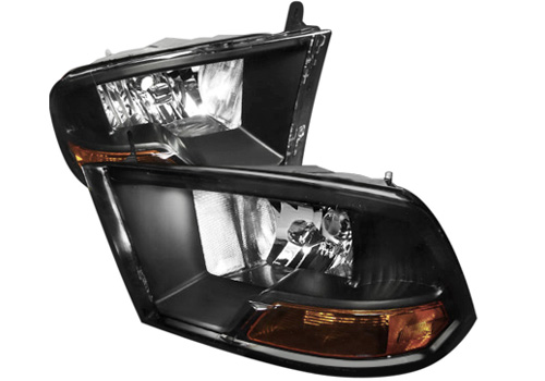 Spec-D Euro Black Clear Lens Headlights 09-18 DODGE RAM