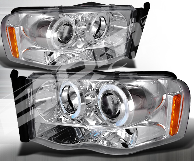 Spec-D Chrome LED Halogen Projector Headlights 02-05 Dodge Ram