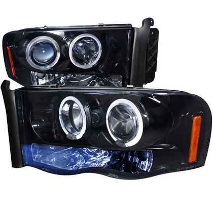Spec-D Smoke LED Halogen Projector Headlights 02-05 Dodge Ram