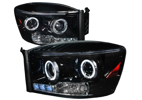 Smoked Halogen Projector Headlights With LEDs 06-08 Dodge Ram