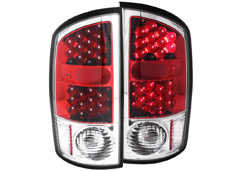 Anzo Red Clear LED Tail Light Set 02-06 Dodge Ram