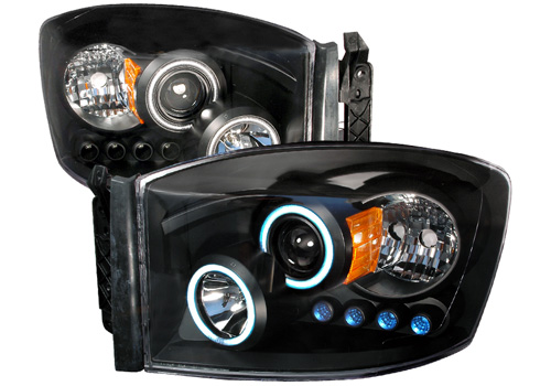 Black CCFL Projector Headlights With LEDs 06-08 Dodge Ram