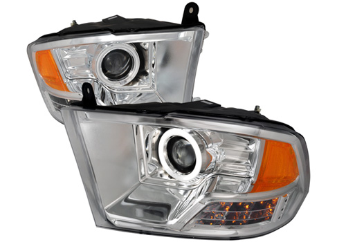 CCFL Chrome Projector Headlights With LEDs 09-18 DODGE RAM
