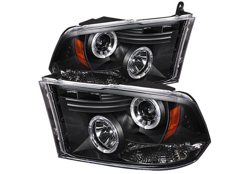 Black LED Halo Headlights w/Daytime Lights 09-18 DODGE RAM