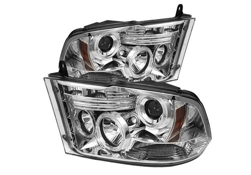 Chrome LED Halo Headlights w/Daytime Lights 09-18 DODGE RAM