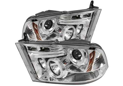 Chrome CCFL Halo Headlights w/Daytime Lights 09-18 DODGE RAM