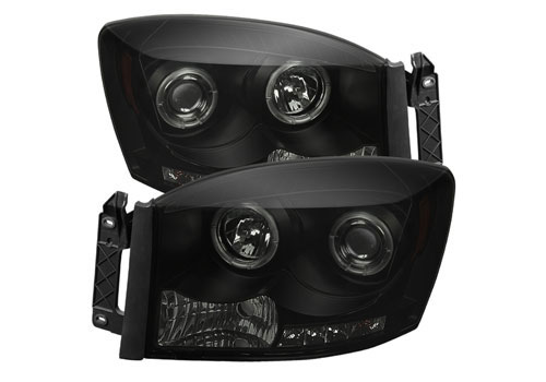 Spyder LED Projector Black-Smoked Headlights 06-08 Dodge Ram